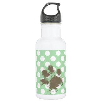 Funny Paw Print on Celadon Green Polka Dots 532 Ml Water Bottle