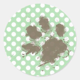 Funny Paw Print on Celadon Green Polka Dots Classic Round Sticker