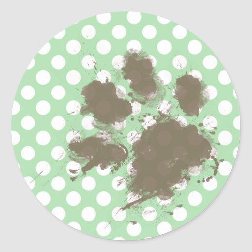 Funny Paw Print on Celadon Green Polka Dots Stickers