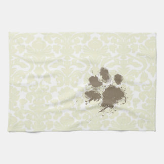 Funny Paw Print on Ivory Damask Pattern Hand Towel