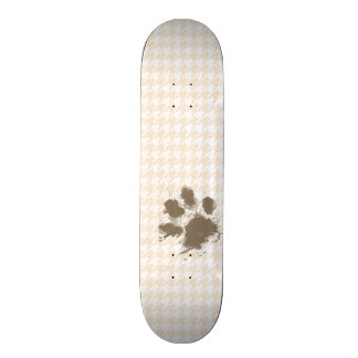 Funny Pawprint; Antique White Houndstooth Skateboards