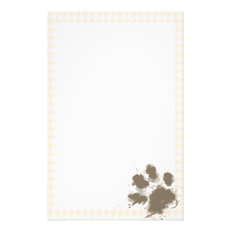Funny Pawprint; Antique White Houndstooth Stationery
