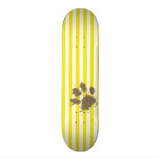 Funny Pawprint; Aureolin Yellow Stripes; Striped Skateboard Decks