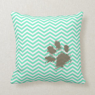 Funny Pawprint on Aquamarine Chevron Throw Pillow