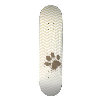 Funny Pawprint on Beige Chevron; zig zag 21.3 Cm Mini Skateboard Deck