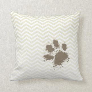 Funny Pawprint on Beige Chevron; zig zag Cushion