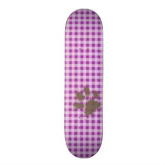 Funny Pawprint on Deep Fuchsia Gingham Skate Board