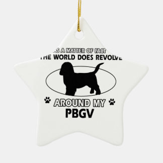 Funny PBGV designs Ceramic Star Decoration