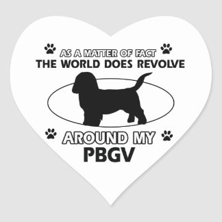 Funny PBGV designs Heart Sticker