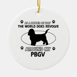 Funny PBGV designs Round Ceramic Decoration