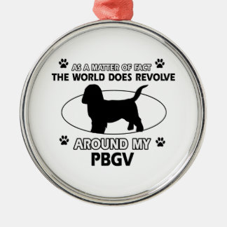 Funny PBGV designs Silver-Colored Round Decoration