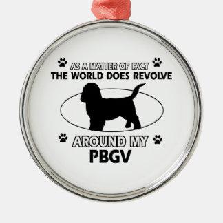 Funny PBGV designs Silver-Colored Round Decoration