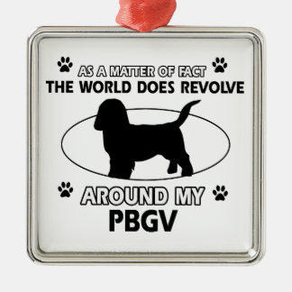 Funny PBGV designs Silver-Colored Square Decoration
