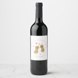 Funny Peanuts Cute Whimsical Pink Wedding Favor Wine Label