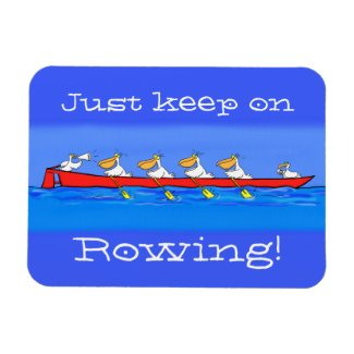 Funny pelicans rowing cartoon illustration magnet