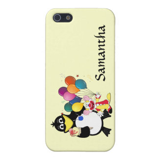 Funny penguin and clown cartoon iPhone 5 cover