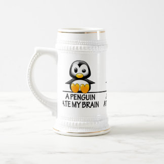 Funny Penguin Ate My Brain Graphic Beer Stein