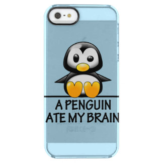 Funny Penguin Ate My Brain Graphic Clear iPhone SE/5/5s Case