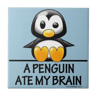 Funny Penguin Ate My Brain Graphic Small Square Tile