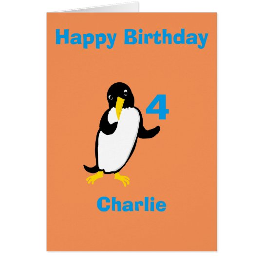 Funny penguin Birthday, add name age front Card