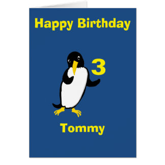 Funny penguin Birthday, add name age front Greeting Card