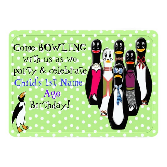 Funny Penguin Bowling Birthday Party Personalised Card