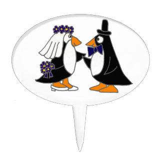 Funny Penguin Bride and Groom Wedding Cartoon Cake Topper