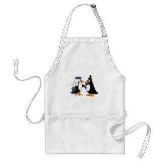 Funny Penguin Bride and Groom Wedding Cartoon Standard Apron