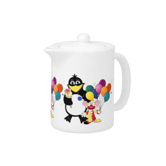 Funny penguin & clown cartoon