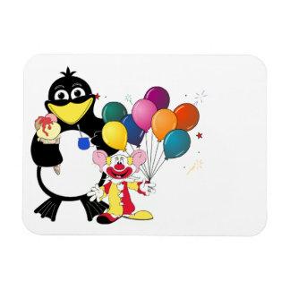 Funny penguin & clown cartoon magnet