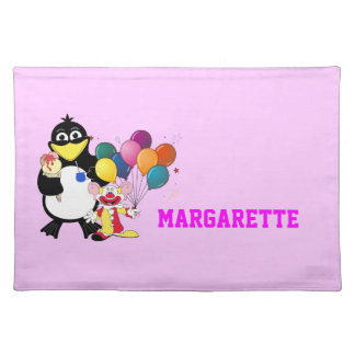 Funny penguin & clown cartoon placemat