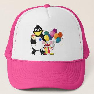 Funny penguin & clown cartoon trucker hat