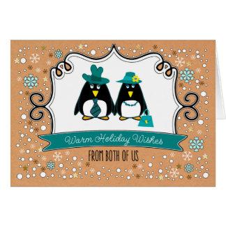 Funny Penguin Couple Custom Christmas Cards