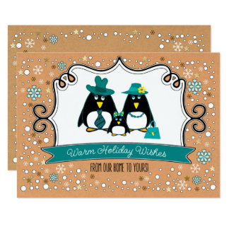 Funny Penguin Family Christmas Flat Greeting Cards 13 Cm X 18 Cm Invitation Card