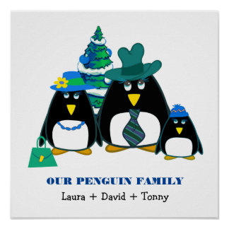 Funny Penguin Family of 3 Custom Christmas Prints