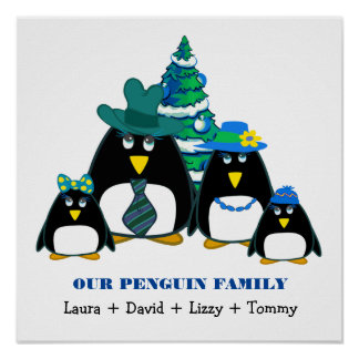 Funny Penguin Family of 4 Custom Christmas Prints