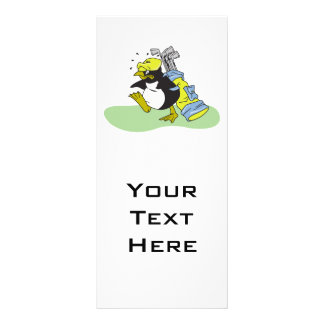 funny penguin golf caddy cartoon personalised rack card