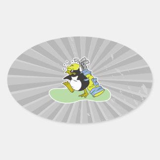 funny penguin golf caddy cartoon oval sticker