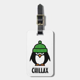 Funny penguin luggage tag | Whimsical animal image