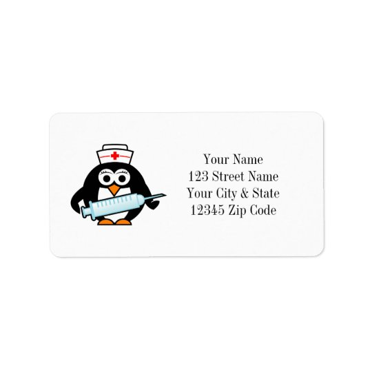 Funny penguin nurse with syringe address labels