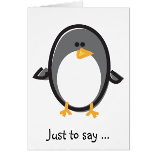 Funny Penguin on White Card