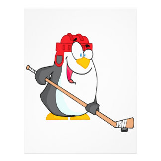 funny penguin playing ice hockey cartoon 21.5 cm x 28 cm flyer