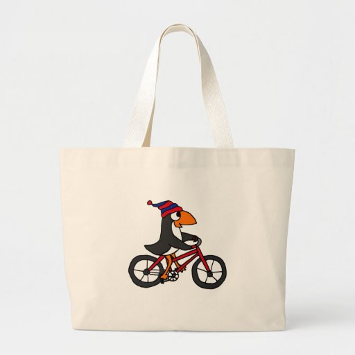 Funny Penguin Riding Red Bicycle Canvas Bag