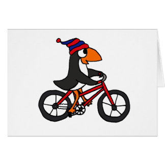 Funny Penguin Riding Red Bicycle Card