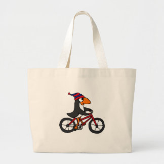 Funny Penguin Riding Red Bicycle Large Tote Bag