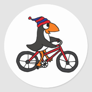 Funny Penguin Riding Red Bicycle Round Sticker
