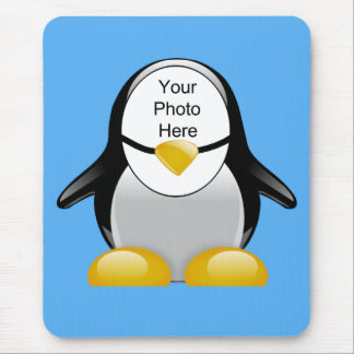 Funny Penguin Suit Cartoon Photo Cutout Template Mouse Pad