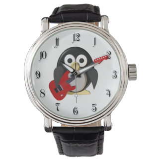 Funny penguin with guitar watches