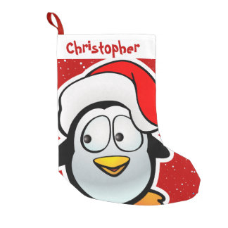 Funny Penguin With Red Santa Hat Small Christmas Stocking
