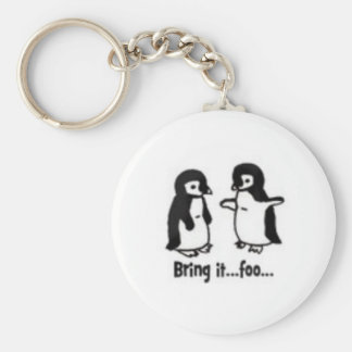 Funny penguins basic round button key ring
